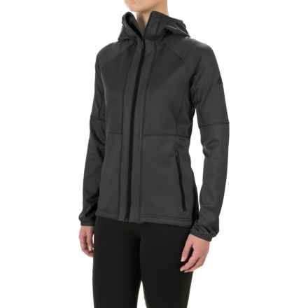 adidas Fleece Hoodie Jacket (For Women) in Utility Black - Closeouts