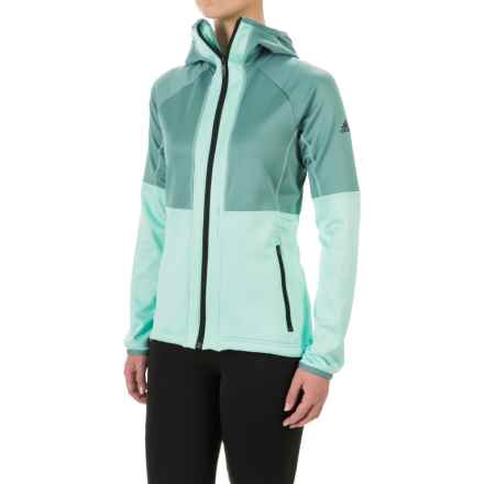 adidas Fleece Hoodie Jacket (For Women) in Vapour Steel/Ice Green - Closeouts
