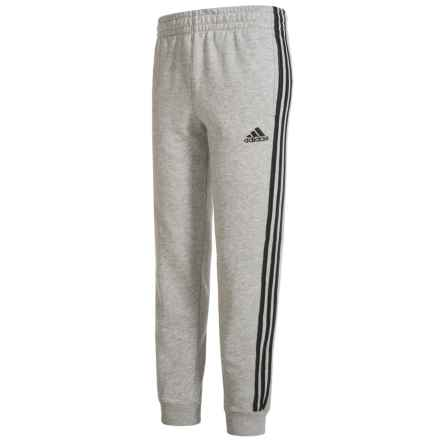 adidas Fleece Joggers (For Big Boys) in Grey Heather/Black - Closeouts