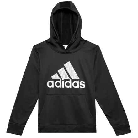 adidas Fleece Pullover Hoodie (For Big Boys) in Black W/White - Closeouts