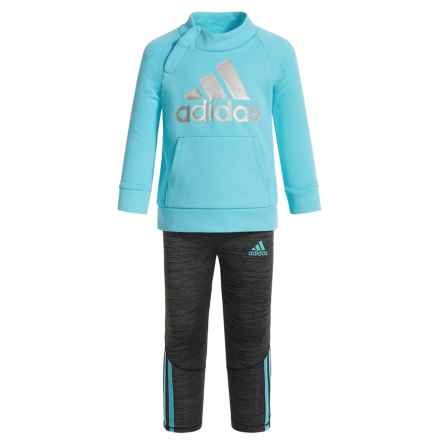 adidas Fleece Sweatshirt and Leggings Set (For Infants) in Blue - Closeouts