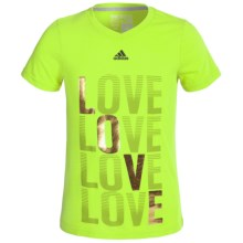 Adidas Go-To T-Shirt - Short Sleeve (For Big Girls) in Semi Solar Slime Love V-Neck - Closeouts