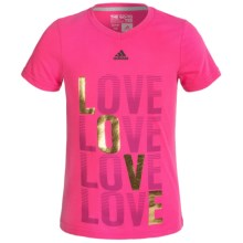 Adidas Go-To T-Shirt - Short Sleeve (For Big Girls) in Shock Pink Love V-Neck - Closeouts
