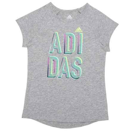 adidas Goals Raglan T-Shirt - Short Sleeve (For Big Girls) in Grey - Closeouts