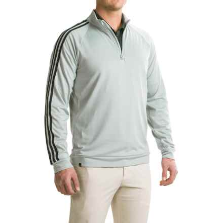 adidas golf 3 Stripes Layering Shirt - Zip Neck, Long Sleeve (For Men) in Stone/Black - Closeouts