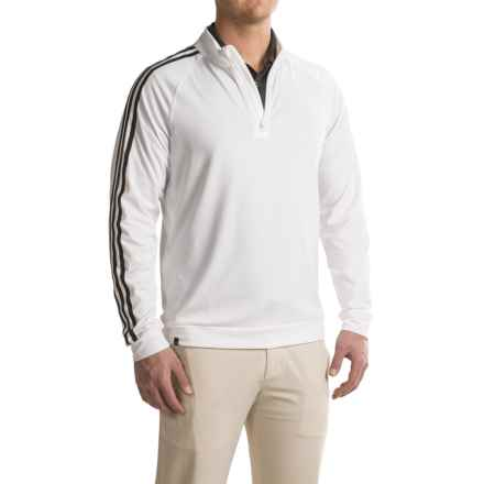 adidas golf 3 Stripes Layering Shirt - Zip Neck, Long Sleeve (For Men) in White/Black - Closeouts