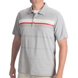 Adidas Golf Adizero Printed Stripe Polo Shirt - Short Sleeve (For Men) in White/Bright Coral/Chrome
