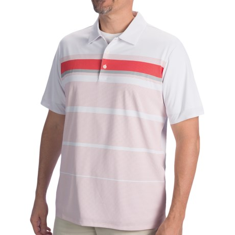 Adidas Golf Adizero Printed Stripe Polo Shirt - Short Sleeve (For Men) in White/Bright Coral/Chrome