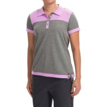 adidas golf Advanced Pique Polo Shirt - Short Sleeve (For Women) in Core Heather/Light Orchid - Closeouts