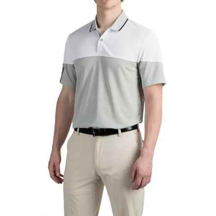 adidas golf ClimaChill® 3 Stripes Blocked Polo Shirt - Short Sleeve (For Men) in White/Tmag Stone Heather - Closeouts