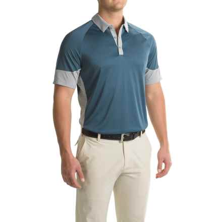 adidas golf ClimaChill® Print Block Polo Shirt - Short Sleeve (For Men) in Mineral Blue - Closeouts