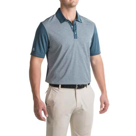 adidas golf ClimaChill® Stripe Polo Shirt - Short Sleeve (For Men) in Min Blue - Closeouts