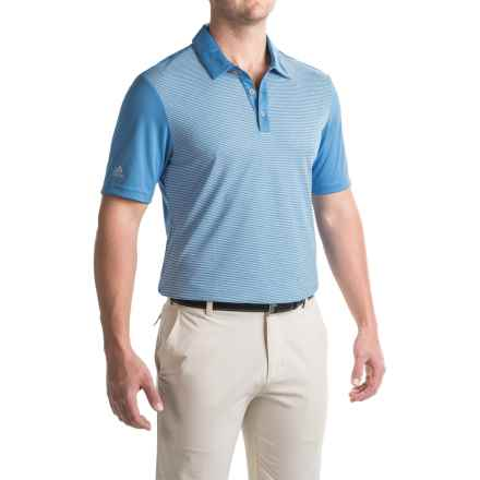 adidas golf ClimaChill® Stripe Polo Shirt - Short Sleeve (For Men) in Ray Blue - Closeouts