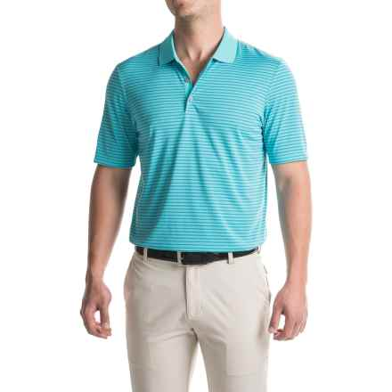 adidas golf ClimaCool® 2-Color Pencil Stripe Polo Shirt - Short Sleeve (For Men) in Blue Glow/Ray Blue - Closeouts