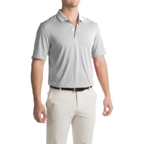 adidas golf ClimaCool® 2-Color Pencil Stripe Polo Shirt - Short Sleeve (For Men) in White/Black