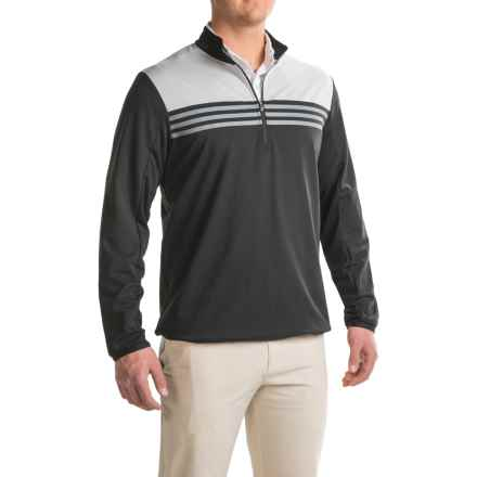 adidas golf ClimaCool® Color-Block Layering Shirt - Zip Neck, Long Sleeve (For Men) in Black - Closeouts