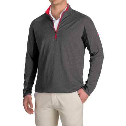 adidas golf ClimaCool® Competition Pullover Shirt - Zip Neck, Long Sleeve (For Men) in Black Heather/Ray Red - Closeouts