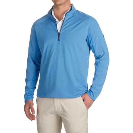 adidas golf ClimaCool® Competition Pullover Shirt - Zip Neck, Long Sleeve (For Men) in Ray Blue/Mineral Blue - Closeouts