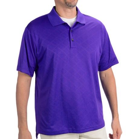 Adidas Golf ClimaCool® Diagonal Textured Polo Shirt - Short Sleeve (For Men) in Bluebonnet/White