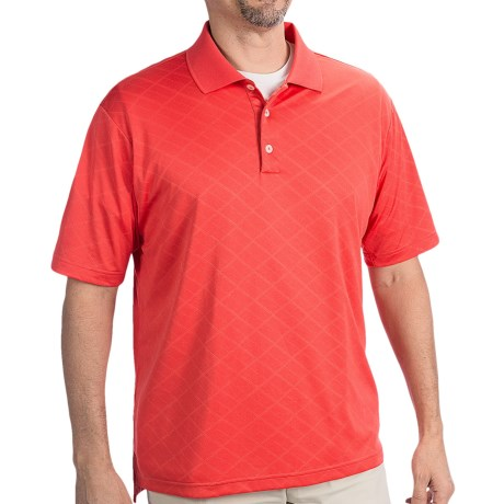 Adidas Golf ClimaCool® Diagonal Textured Polo Shirt - Short Sleeve (For Men) in Bright Coral/White