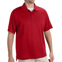 Adidas Golf ClimaCool® Diagonal Textured Polo Shirt - Short Sleeve (For Men) in University Red/Black - Closeouts