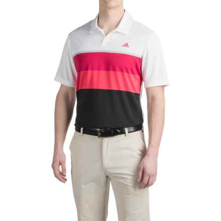 adidas golf ClimaCool® Engineered Striped Polo Shirt - Short Sleeve (For Men) in White/Uniby Pink - Closeouts