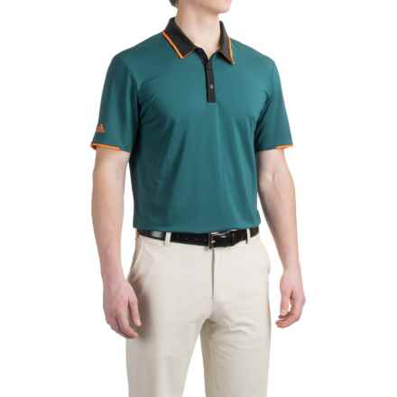 adidas golf ClimaCool® High-Performance Polo Shirt - Short Sleeve (For Men) in Utility Green/Back - Closeouts