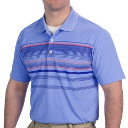 Adidas Golf ClimaCool® Multi-Stripe Polo Shirt - Short Sleeve (For Men) in Periwinkle/Bluebonnet/Bright Coral