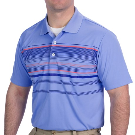 Adidas Golf ClimaCool® Multi-Stripe Polo Shirt - Short Sleeve (For Men) in White/Chrome/Bright Coral