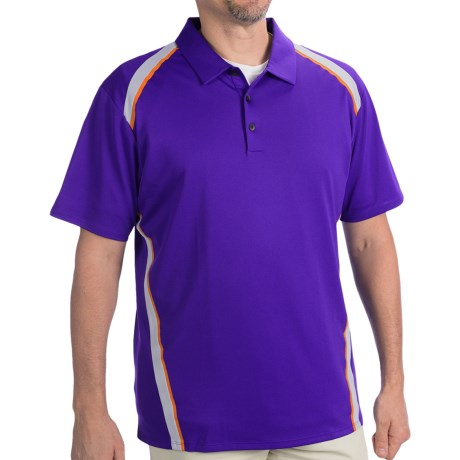 Adidas Golf ClimaCool® Pique Angular Taped Polo Shirt - Short Sleeve (For Men) in Bluebonnet/Chrome/Bright Coral