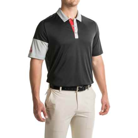 adidas golf ClimaCool® Sleeve-Block Polo Shirt - Short Sleeve (For Men) in Black - Closeouts