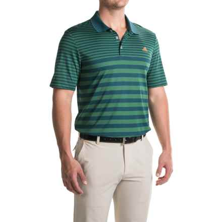 adidas golf ClimaCool® Striped Polo Shirt - Short Sleeve (For Men) in Tech Forest/Utility Green - Closeouts