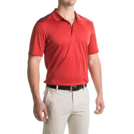 adidas golf ClimaCool® Three-Stripes Polo Shirt - Short Sleeve (For Men) in Power Red/Black - Closeouts