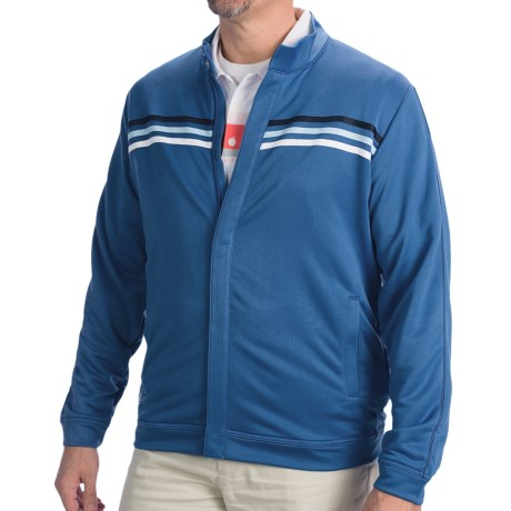 Adidas Golf ClimaLite® 3-Stripe Terry Jacket (For Men) in Navy/Ultramarine/Crisp/White