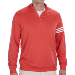 Adidas Golf ClimaLite® 3-Stripes Pullover - Zip Neck, Long Sleeve (For Men) in Bright Coral/White