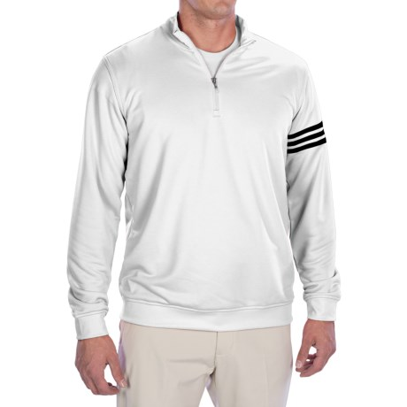 Adidas Golf ClimaLite® 3-Stripes Pullover - Zip Neck, Long Sleeve (For Men) in White/Black