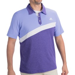 Adidas Golf ClimaLite® Angular Color-Blocked Polo Shirt - Short Sleeve (For Men) in Periwinkle/Bluebonnet Heather/White