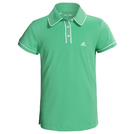 Adidas Golf ClimaLite® Piped Polo Shirt - Short Sleeve (For Girls) in Cerulean/White