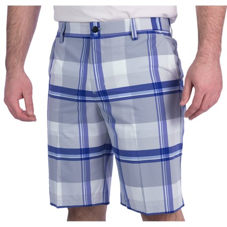 Adidas Golf Climalite® Plaid Shorts (For Men) in Chrome/White/Skyline/Bluebonnet