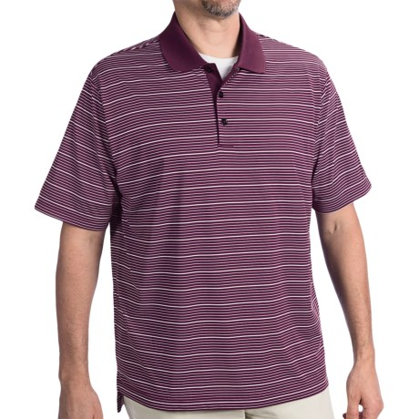 Adidas Golf ClimaLite® Two-Color Stripe Polo Shirt - Short Sleeve (For Men) in Regal Purple/White