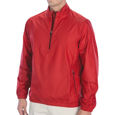 Adidas Golf ClimaProof Wind Pullover - Zip Neck, Long Sleeve (For Men) in University Red/Black