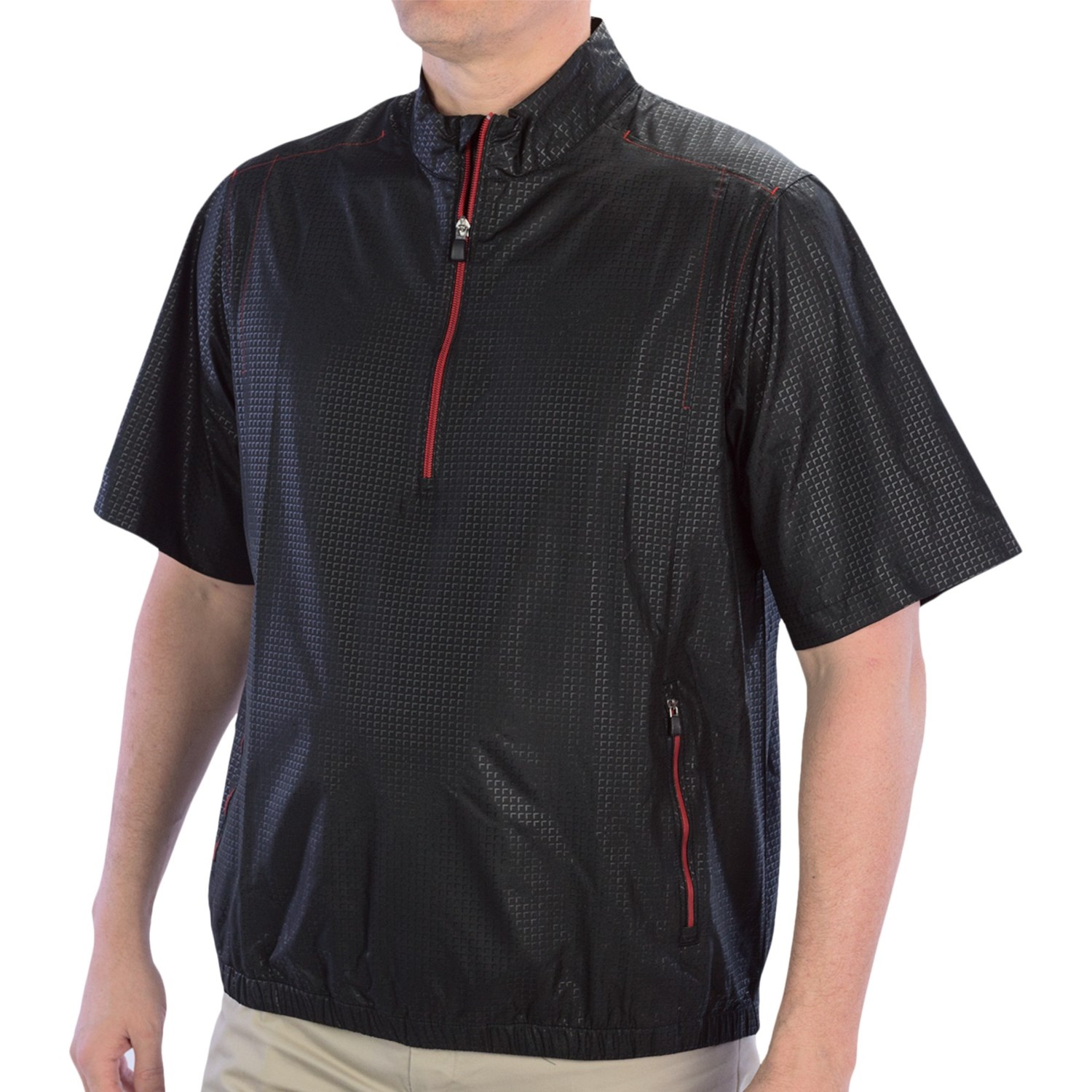 Adidas golf climaproof wind pullover zip neck short for Mens pullover shirts short sleeve