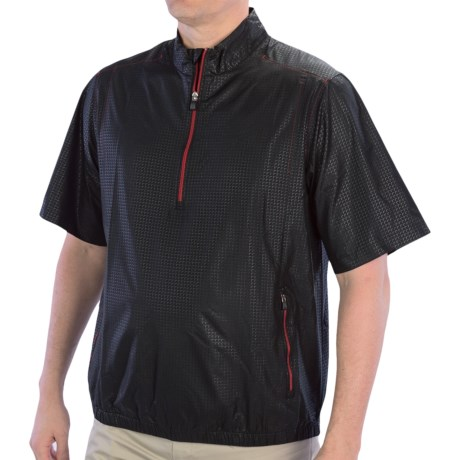 Adidas Golf ClimaProof Wind Pullover - Zip Neck, Short Sleeve (For Men) in Black/University Red