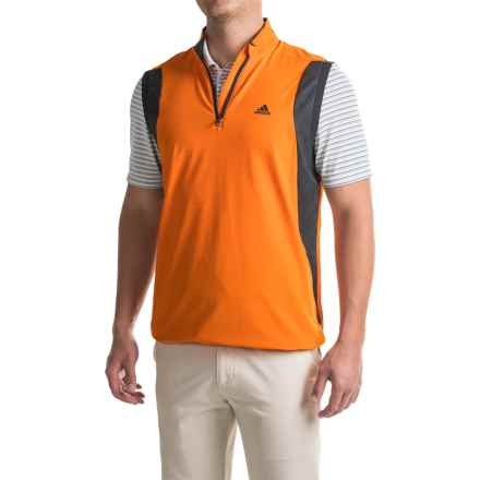 adidas golf High-Performance Wind Vest - Zip Neck, Sleeveless (For Men) in Unity Orange - Closeouts