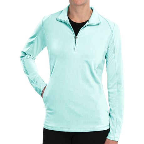 Adidas Golf Microstripe Pullover - Zip Neck, Long Sleeve (For Women) in Fresh Green/White