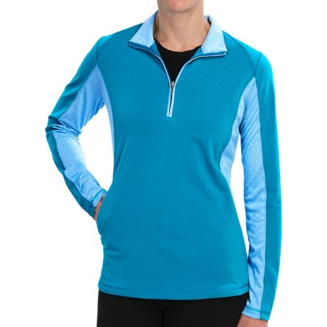 Adidas Golf Microstripe Pullover - Zip Neck, Long Sleeve (For Women) in Solar Blue/White