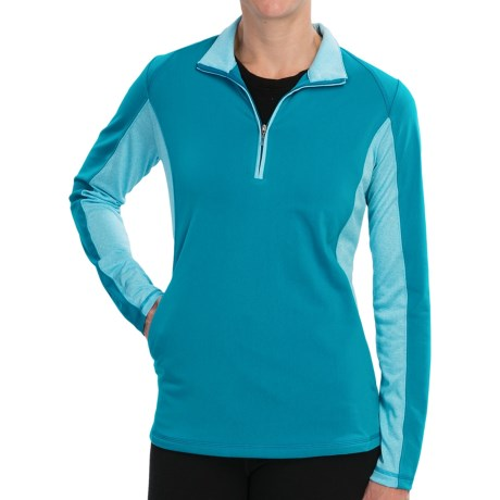 Adidas Golf Microstripe Pullover - Zip Neck, Long Sleeve (For Women) in Teal/White