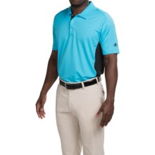 adidas golf puremotion® Color-Block Polo Shirt - Short Sleeve (For Men) in Bright Cyan/Black - Closeouts
