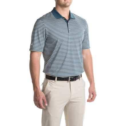 adidas golf Three-Color Stripe Polo Shirt - Short Sleeve (For Men) in Min Blue/Stone/White - Closeouts