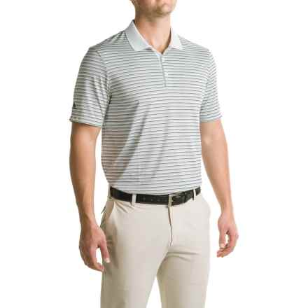 adidas golf Three-Color Stripe Polo Shirt - Short Sleeve (For Men) in White/Stone/Min Blue - Closeouts